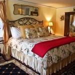 Charlottesville Virginia bed and breakfast Altamonte Room with king bed, steam shower, gas fireplace, and private terrace