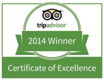 TripAdvisor 2014 Certificate of Excellence Charlottesville Virginia Bed and Breakfast