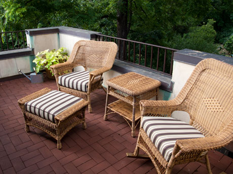 Private terrace in historic downtown Charlottesville, VA, at The Inn at 400 West High bed and breakfast