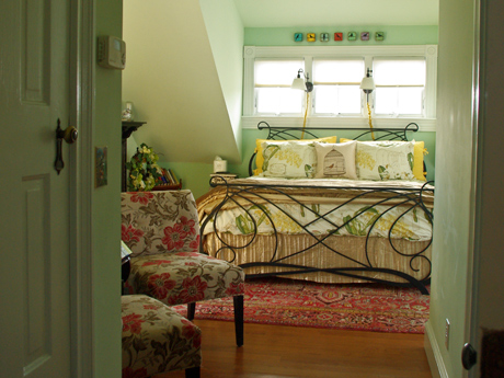 guest room with king bed, private terrace, gas fireplace in downtown Charlottesville, Virginia
